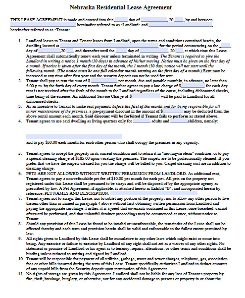 Free Nebraska Standard Residential Lease Agreement