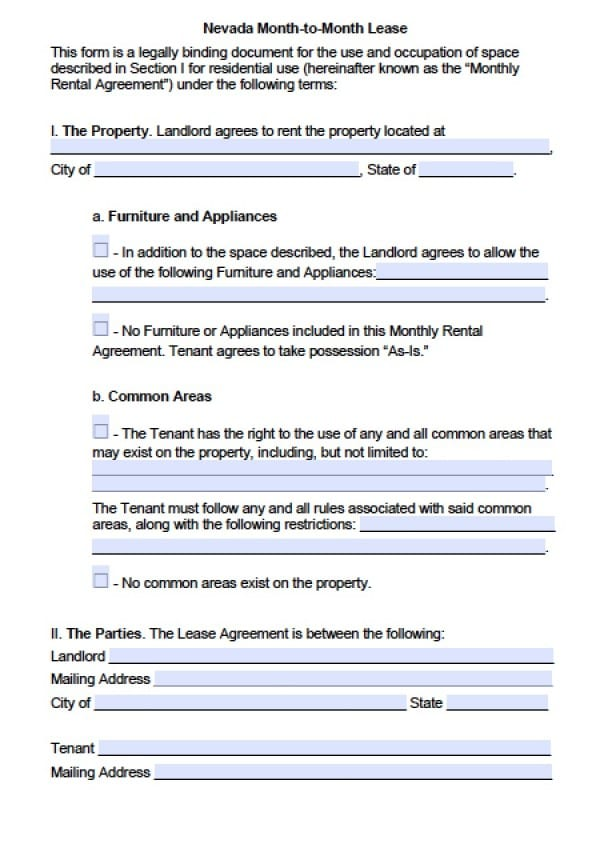 nevada lease agreement Free Nevada Month-to-Month Lease Agreement | PDF | Word (.doc)