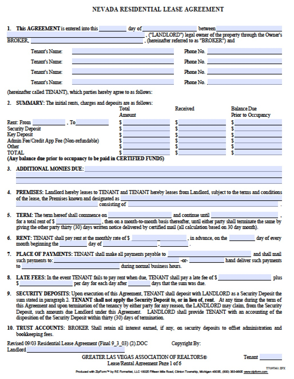Free Nevada Standard Residential Lease Agreement Pdf
