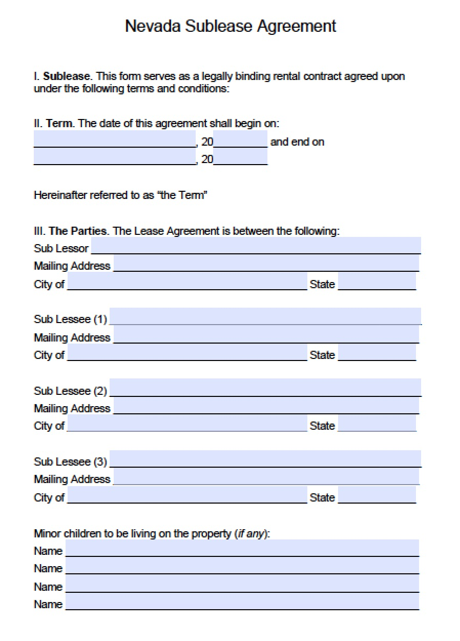Free Nevada Sub Lease Agreement Template Pdf Word Doc