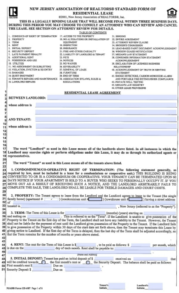 Free New Jersey Standard Residential Lease Agreement  Year  Pdf