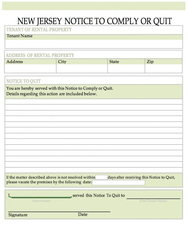 free new jersey notice to quit notice to cease nonpayment of