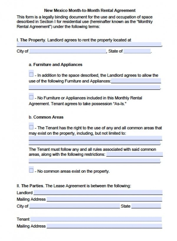 Free New Mexico Month To Month Lease Agreement Pdf Word C