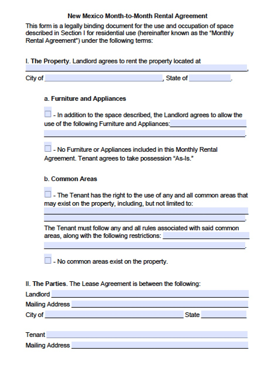 Free New Mexico Month To Month Lease Agreement Template