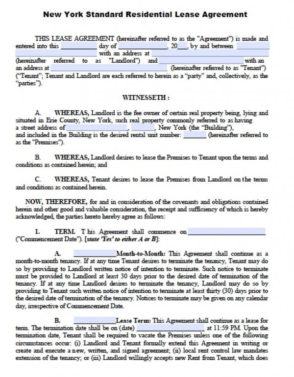 Free New York Residential Lease Agreement PDF