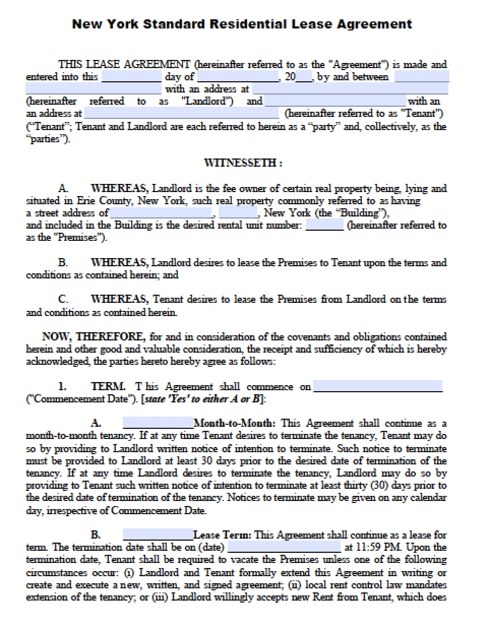 Free New York Standard Residential Lease Agreement Template