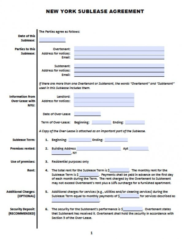 Free New York Sub Lease Roommate Agreement PDF