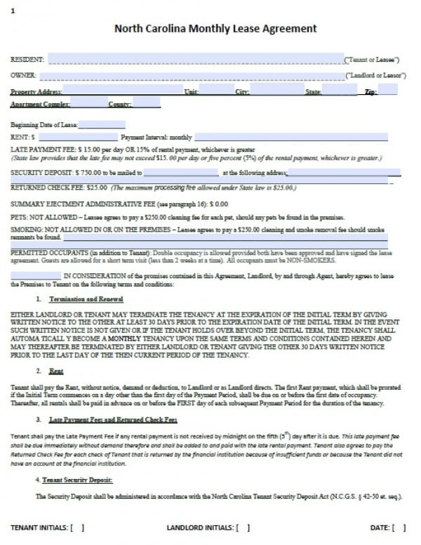 Free North Carolina Month To Month Lease Agreement Pdf Word C