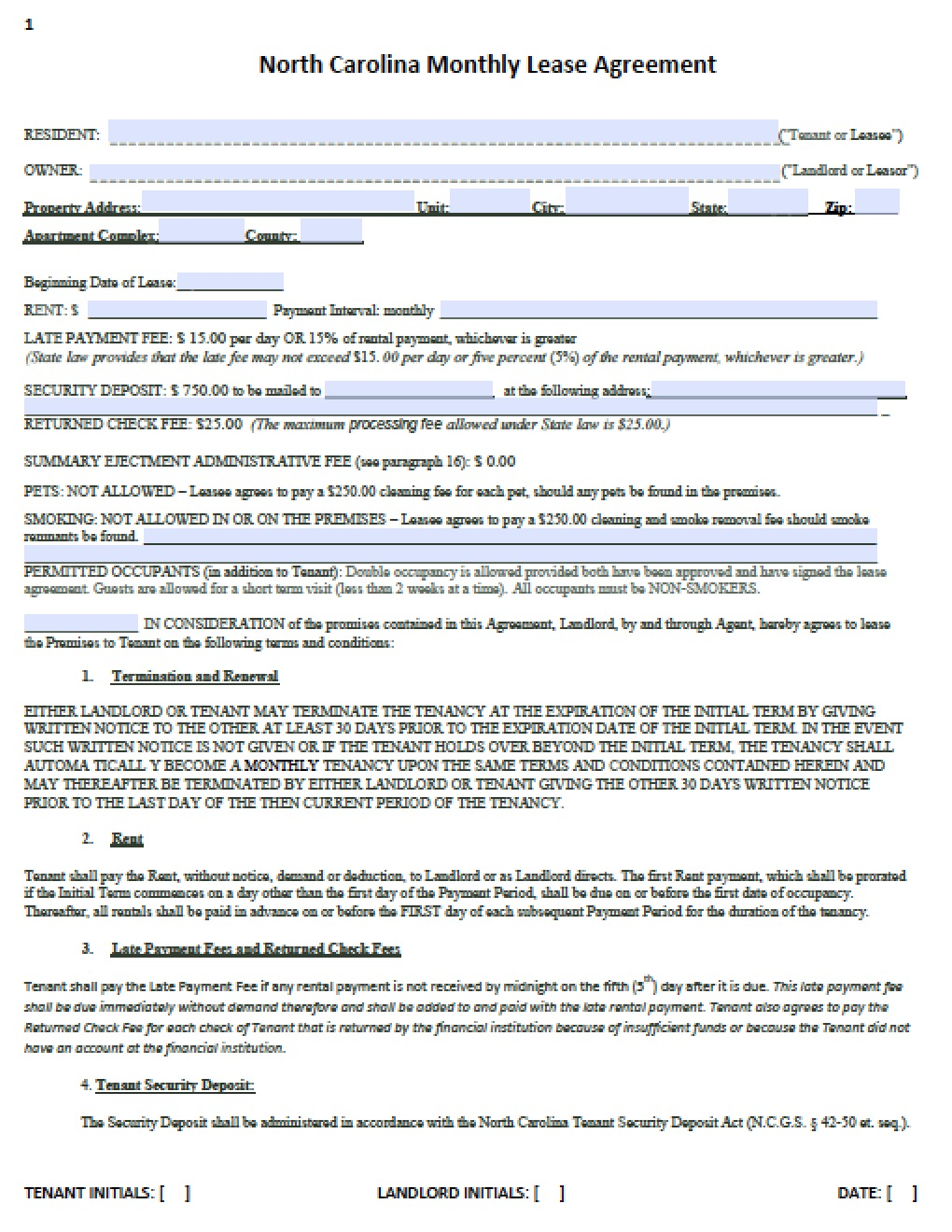 Free North Carolina Month To Month Lease Agreement Template