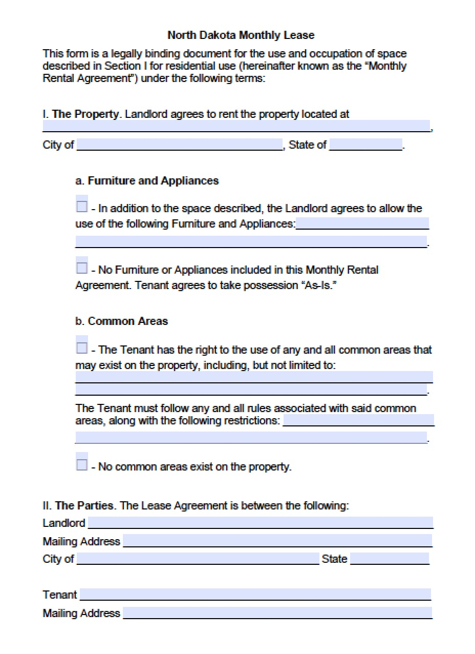 Free North Dakota Month To Month Lease Agreement Template