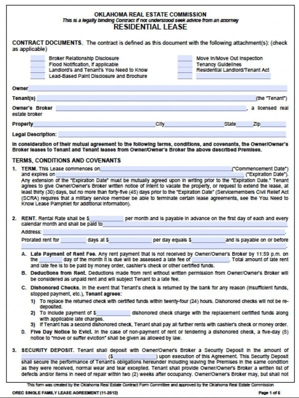 Free Oklahoma Standard One 1 Year Residential Lease Agreement
