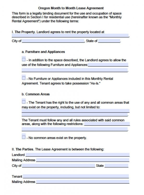 Oregon Tenancy At Will | PDF | Word  Free Download Lease Agreement