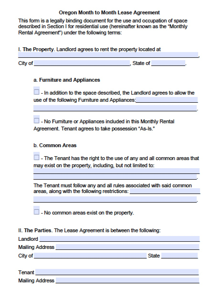 Free Oregon Month To Month Lease Agreement Template Pdf