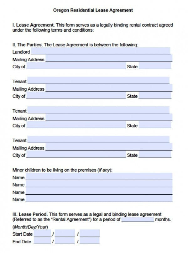 Oregon Residential Lease Agreement Template | PDF | Word  Free Tenant Agreement