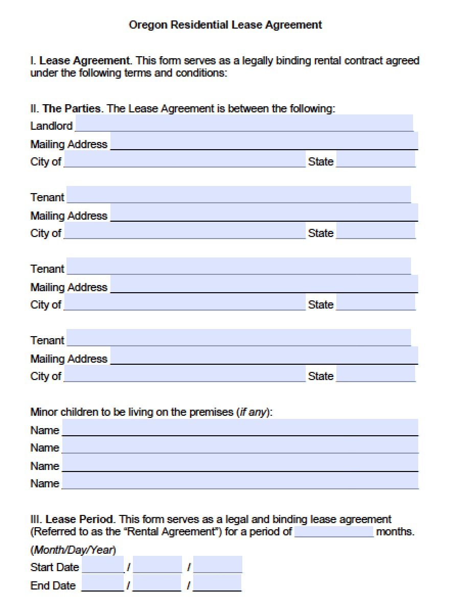 Free Oregon Standard Residential Lease Agreement Template