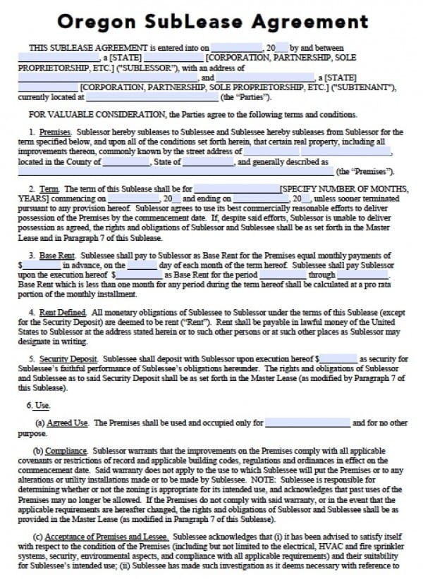 Free Oregon Sub Lease Agreement Pdf Word C
