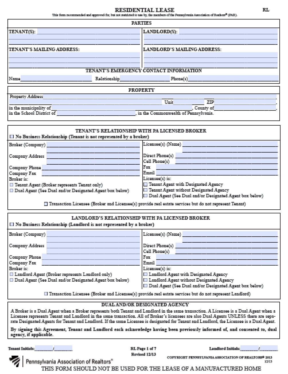 Free Pennsylvania Residential Lease Agreement PDF