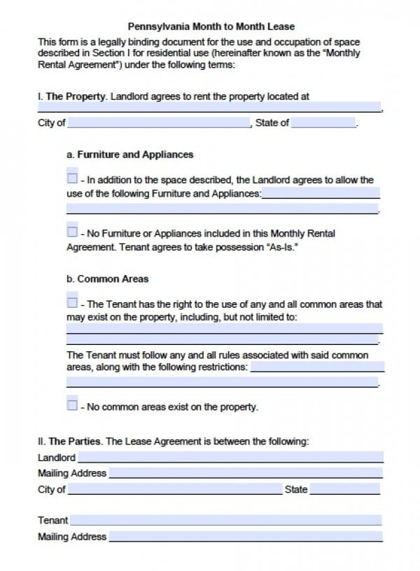 Free Pennsylvania MonthToMonth Lease Agreement  Pdf  Word Doc