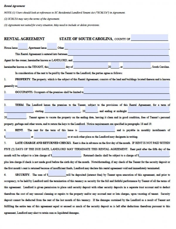 Free South Carolina Residential Lease Agreement Pdf Word C