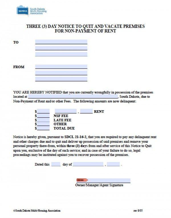 South Dakota 3 Day Notice to Quit   PDF   Word
