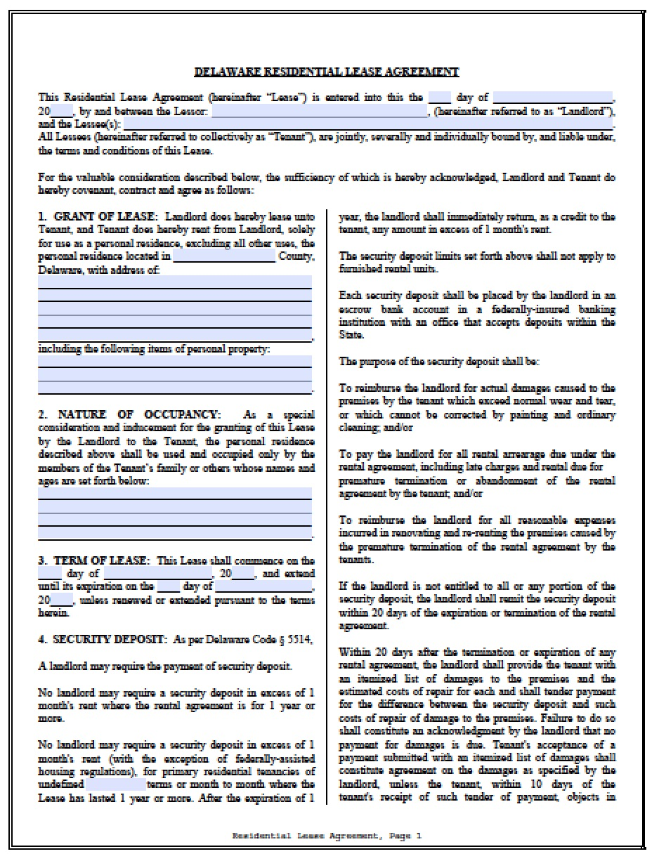 Free Delaware Standard Residential Lease Agreement Pdf Word C