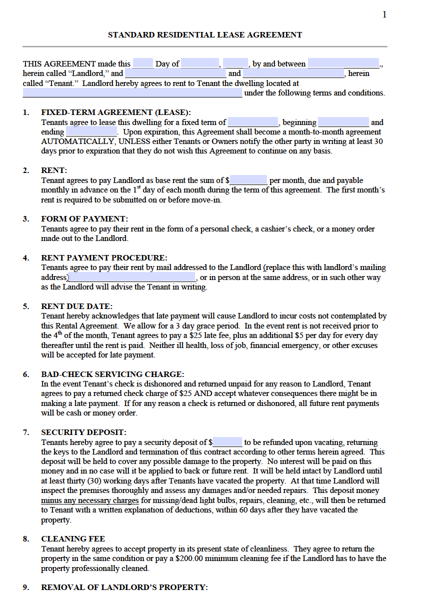 Free Standard Residential Lease Agreement Templates