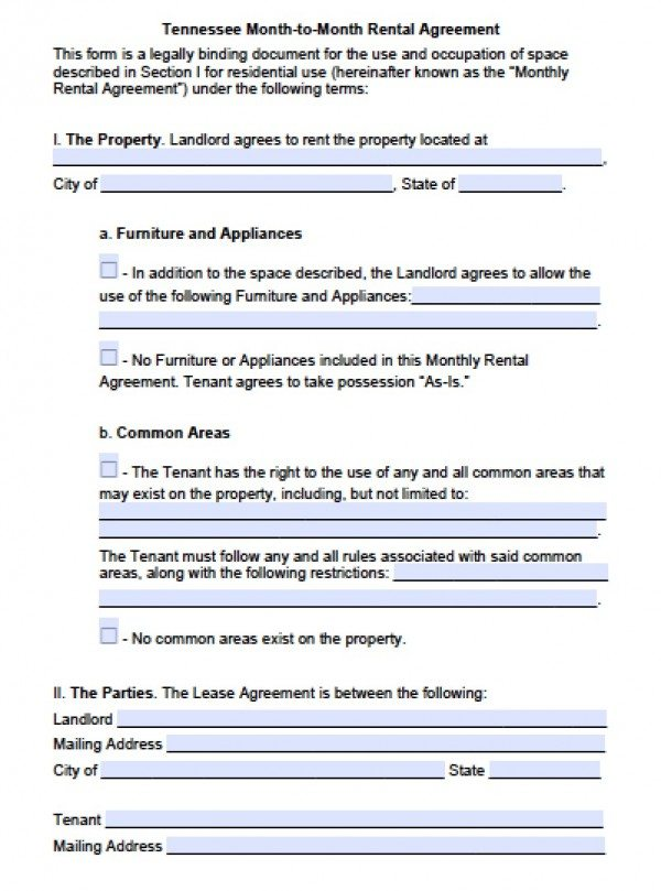 Free Tennessee Month To Month Lease Agreement Pdf Word C