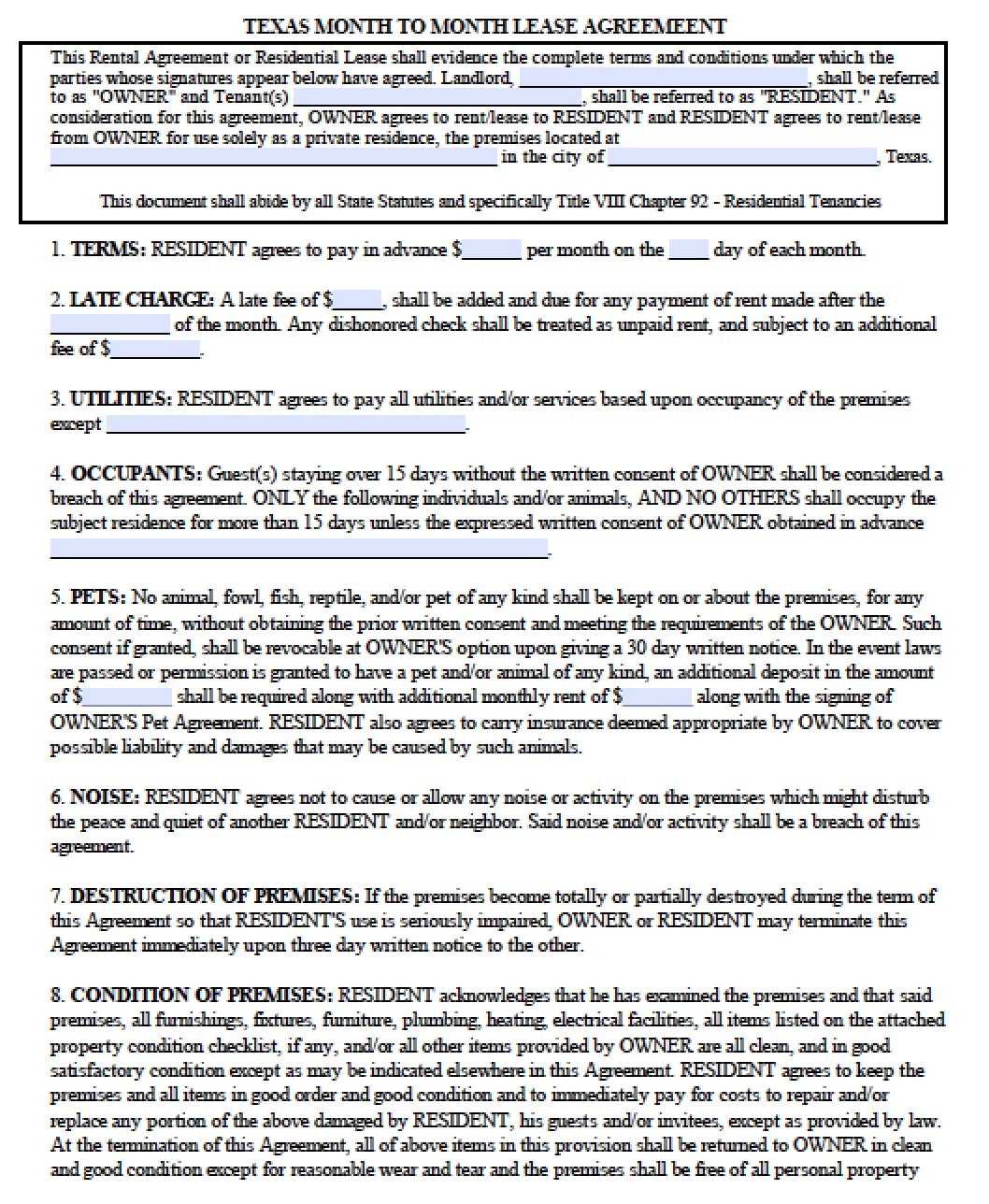 Free Texas Month To Month Lease Agreement Template Pdf