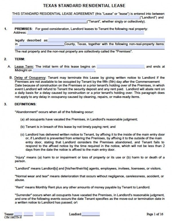 Free Texas Residential Lease Agreement  Pdf  Word Doc