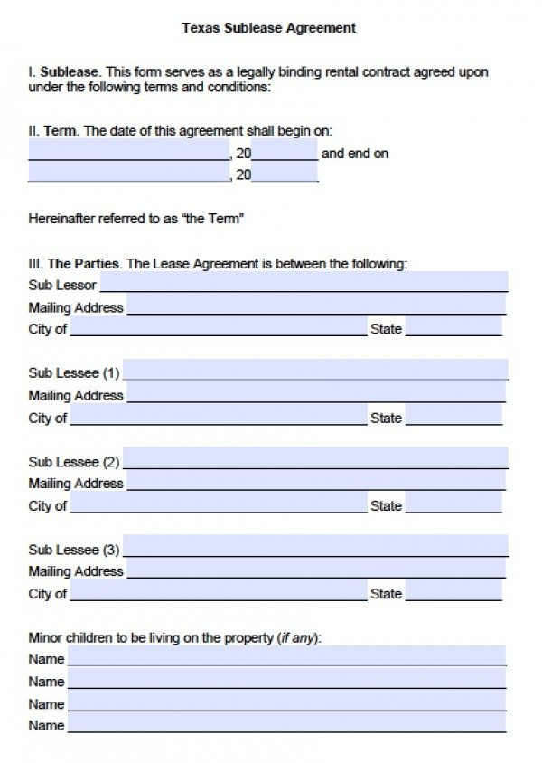 Free Texas Sub Lease Agreement Pdf Word C