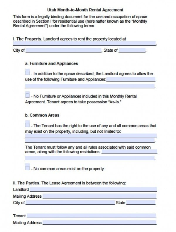 Free Utah Month To Month Lease Agreement  Pdf  Word Doc