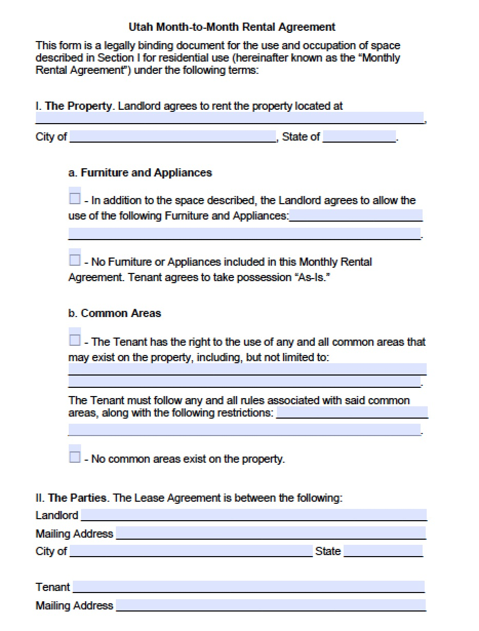 Free Utah Month To Month Lease Agreement Template Pdf