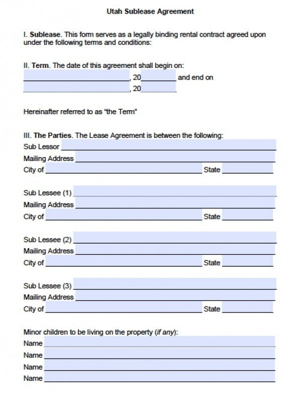 Utah Sublease Agreement I Sublease This Form Serves As A Legally