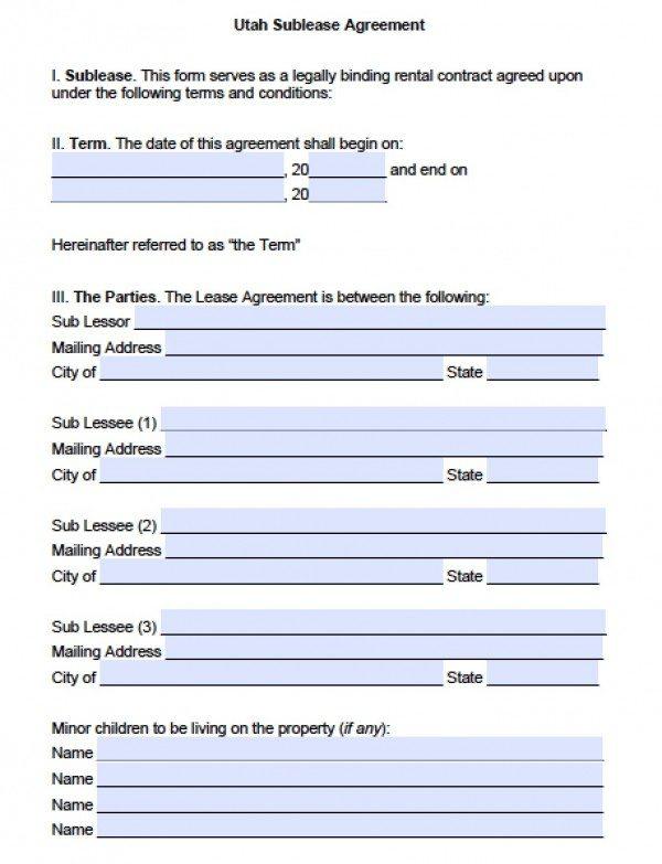 Utah SubLease Agreement | PDF | Word