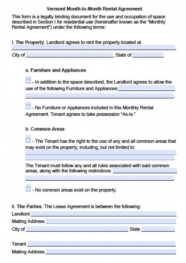 Free Vermont MonthToMonth Lease Agreement  Pdf  Word Doc