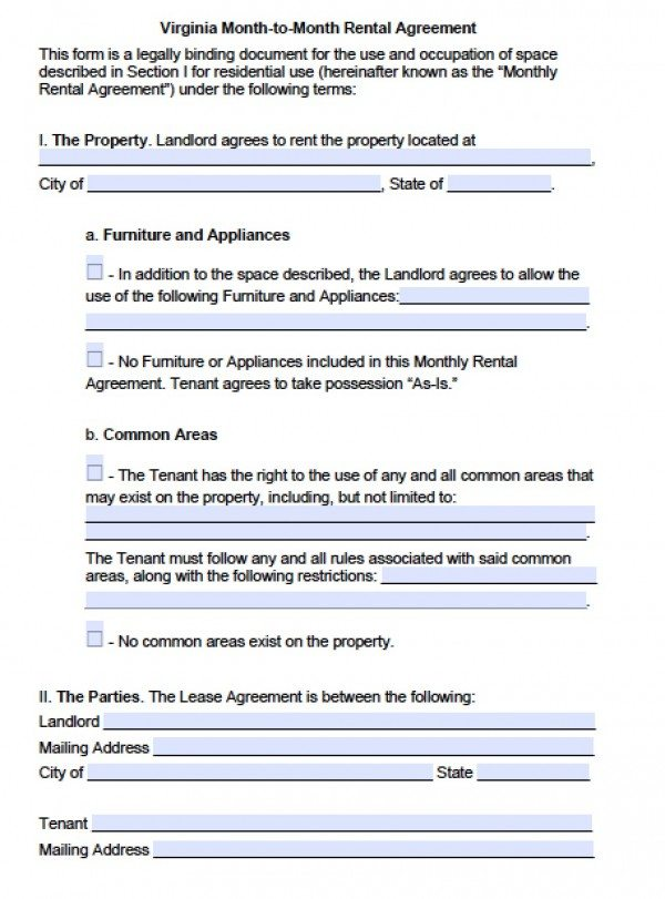 Free Virginia Month To Month Lease Agreement Pdf Word C