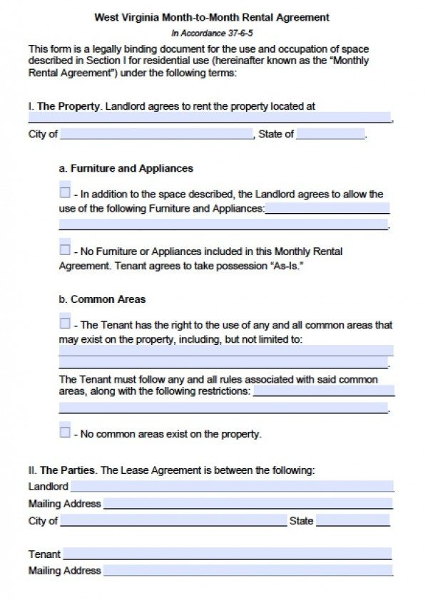 Free West Virginia Month To Month Lease Agreement Pdf Word C