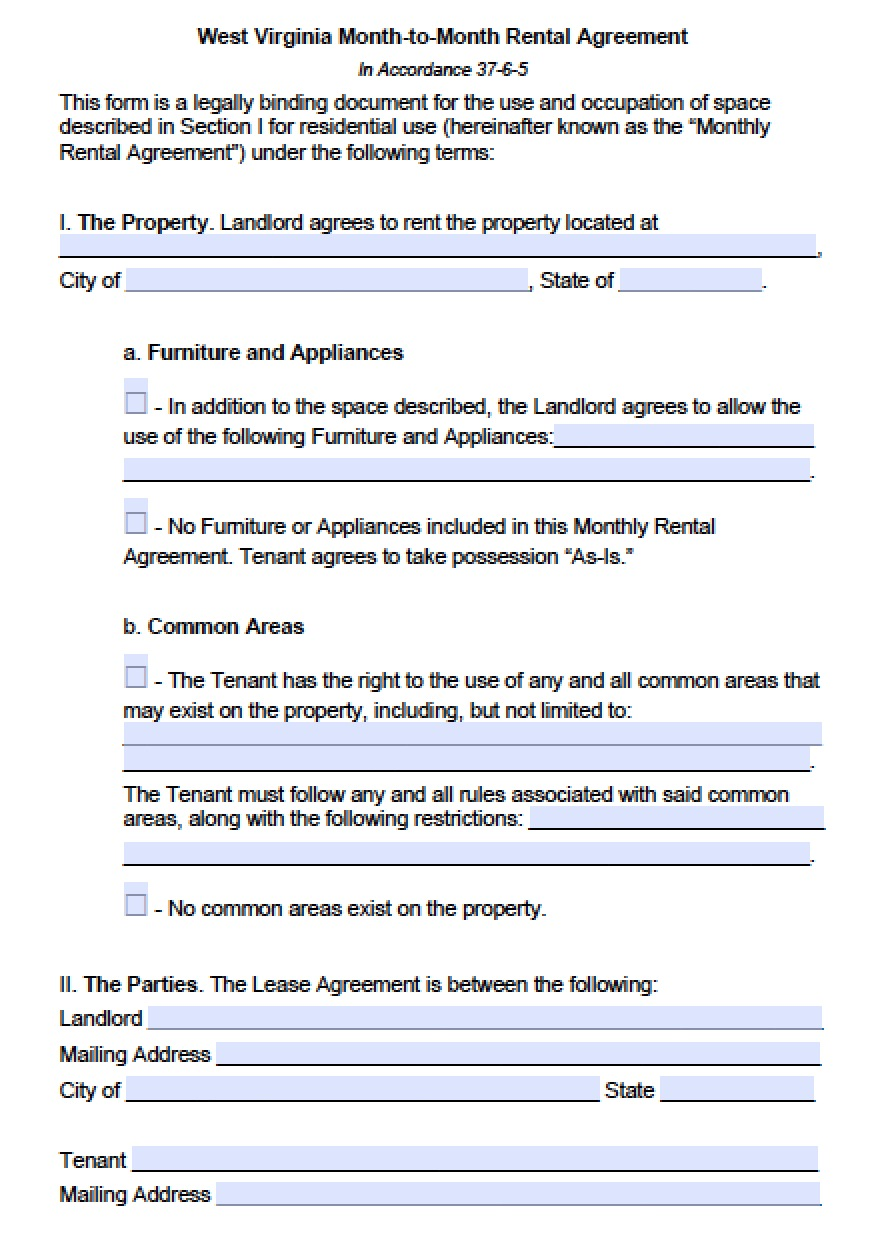 Free West Virginia Month To Month Lease Agreement Template