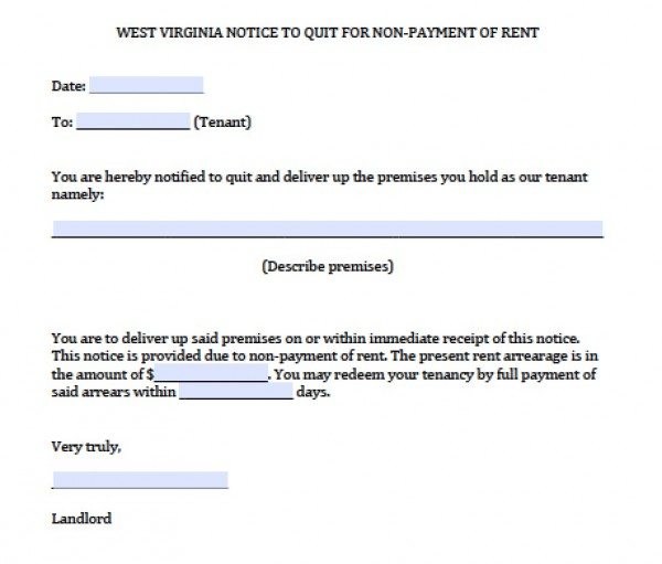 Free West Virginia Notice to Quit for Nonpayment | PDF | Word (.doc)