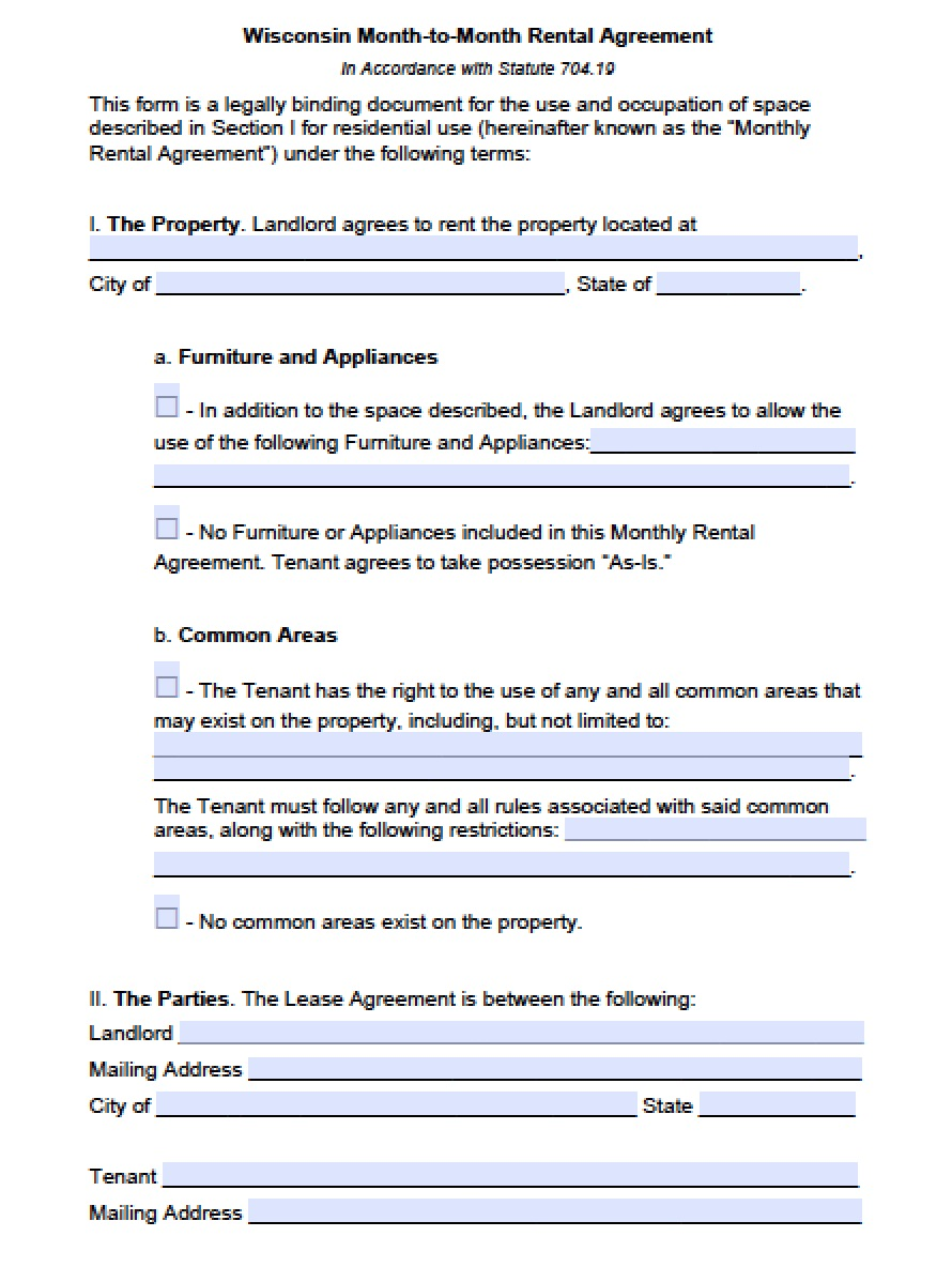 Free Wisconsin Month To Month Lease Agreement Template Pdf