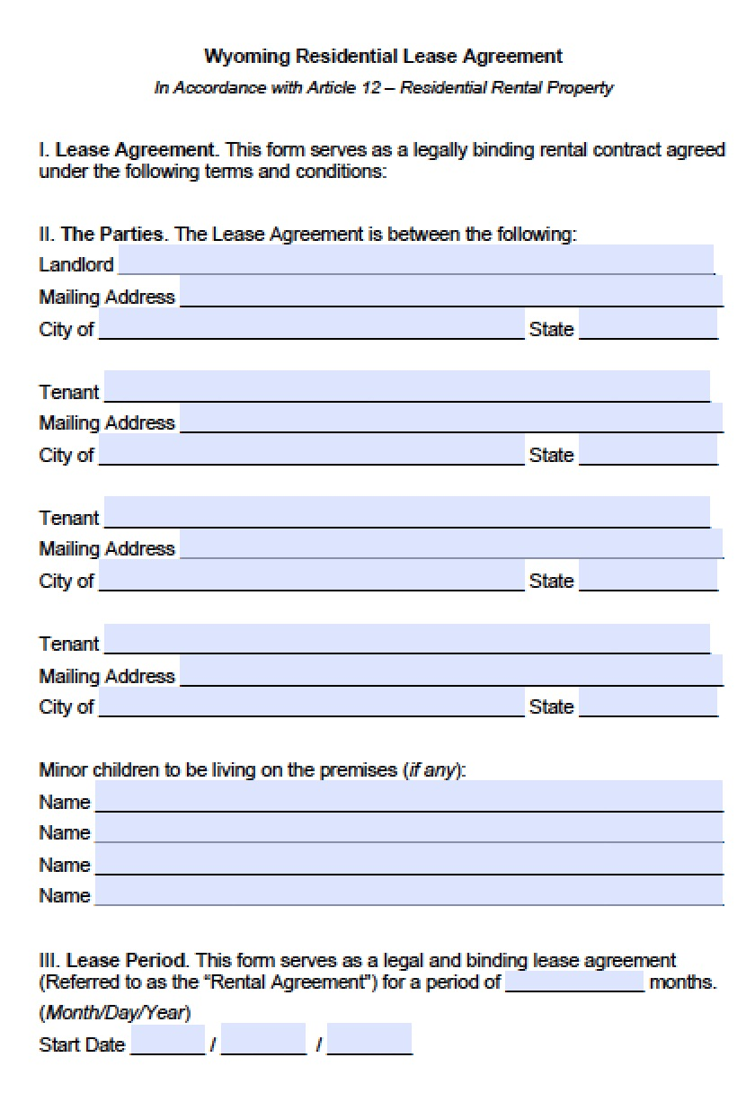 Free Wyoming Standard Residential Lease Agreement Template